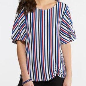 Vertical Stripe Sleeve Top w/silver ring on sleeve